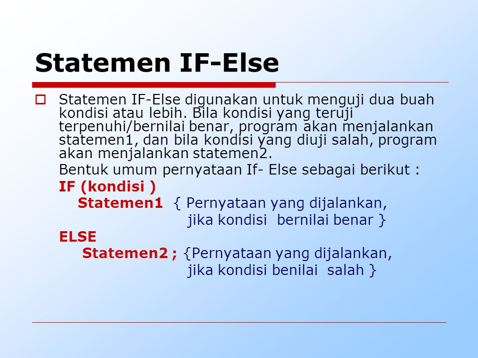 Statemen IF-Else