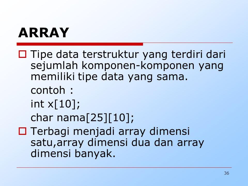 ARRAY Tipe data terstruktur yang terdiri dari sejumlah komponen-komponen yang memiliki tipe data yang sama.