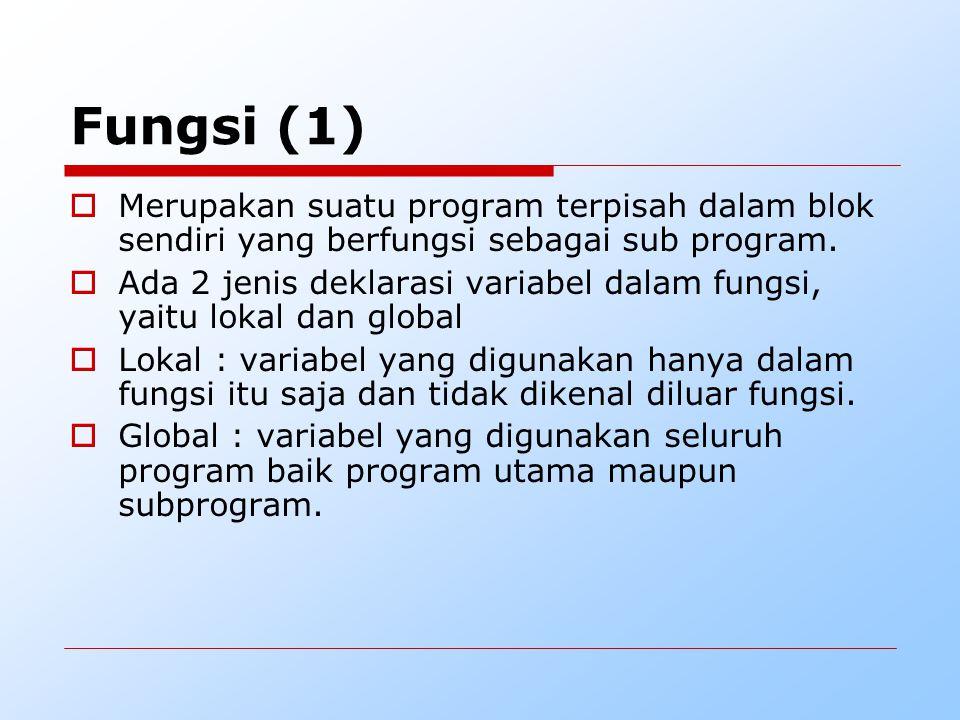 Fungsi (1) Merupakan suatu program terpisah dalam blok sendiri yang berfungsi sebagai sub program.