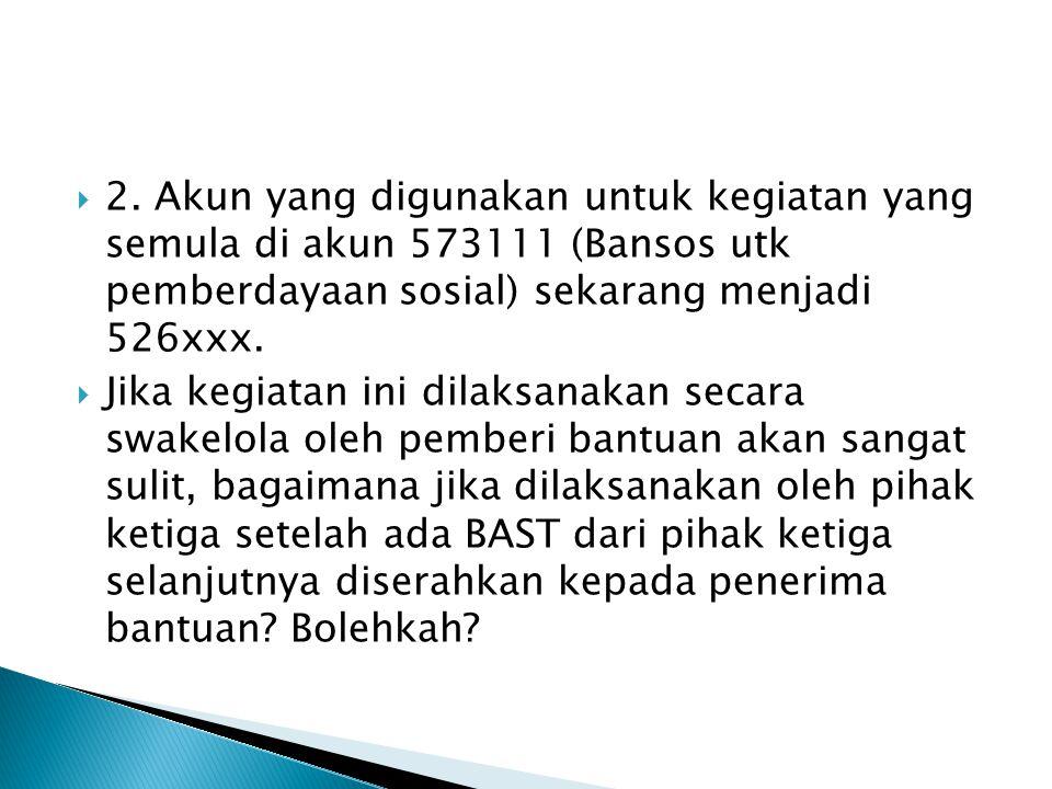 2. Akun yang digunakan untuk kegiatan yang semula di akun 573111 (Bansos utk pemberdayaan sosial) sekarang menjadi 526xxx.