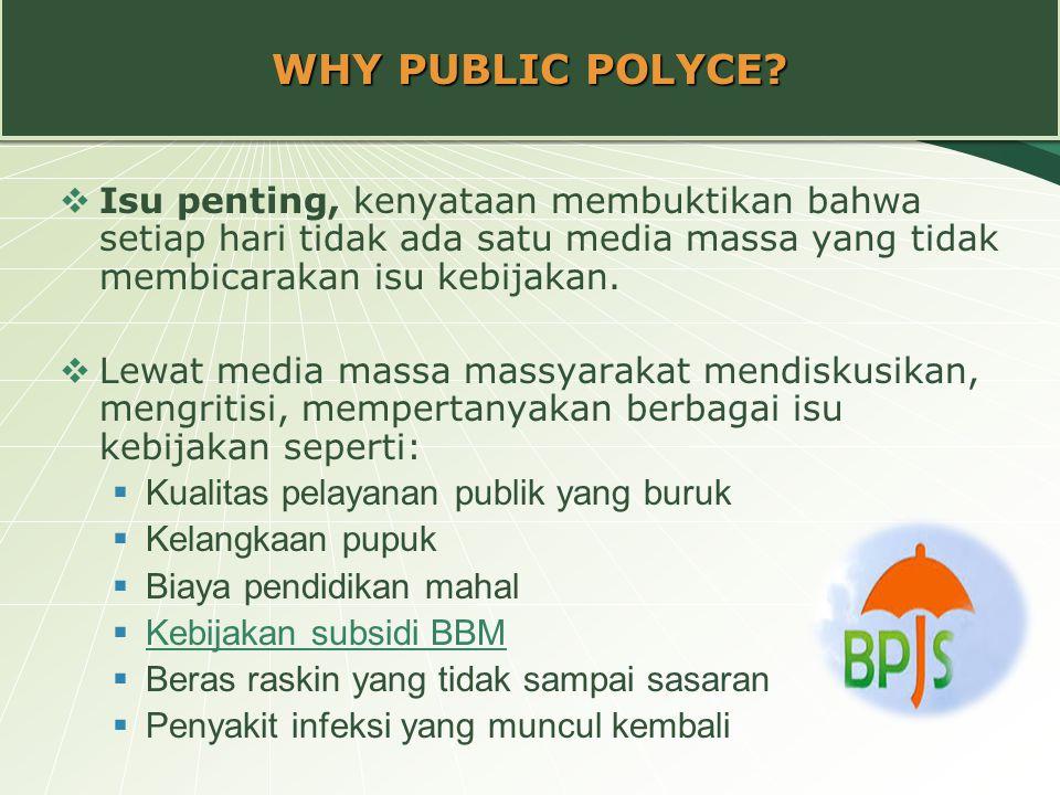 WHY PUBLIC POLYCE Isu penting, kenyataan membuktikan bahwa setiap hari tidak ada satu media massa yang tidak membicarakan isu kebijakan.