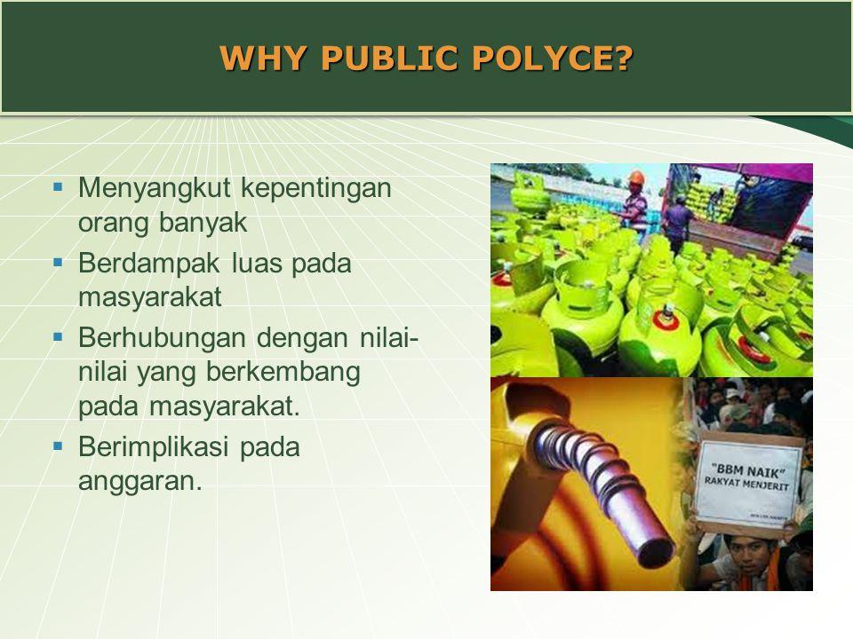 WHY PUBLIC POLYCE Menyangkut kepentingan orang banyak