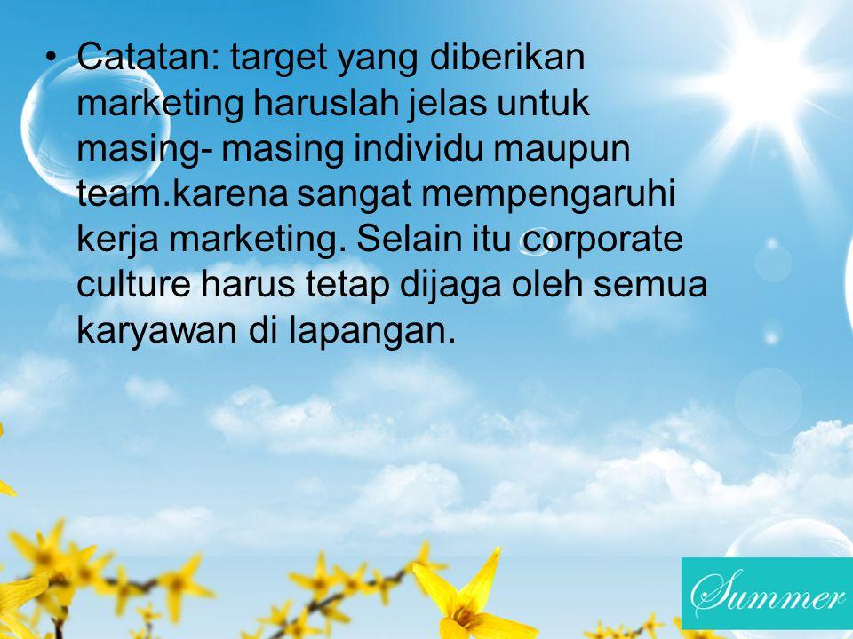 Catatan: target yang diberikan marketing haruslah jelas untuk masing- masing individu maupun team.karena sangat mempengaruhi kerja marketing.