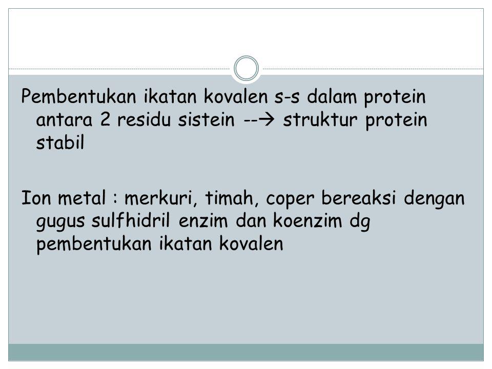 Pembentukan ikatan kovalen s-s dalam protein antara 2 residu sistein -- struktur protein stabil Ion metal : merkuri, timah, coper bereaksi dengan gugus sulfhidril enzim dan koenzim dg pembentukan ikatan kovalen
