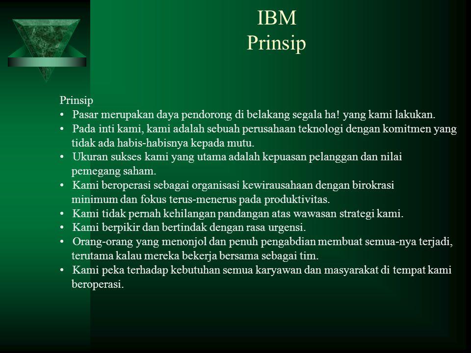 IBM Prinsip Prinsip. Pasar merupakan daya pendorong di belakang segala ha! yang kami lakukan.