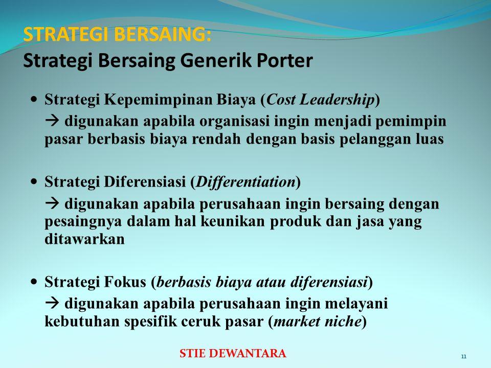 STRATEGI BERSAING: Strategi Bersaing Generik Porter