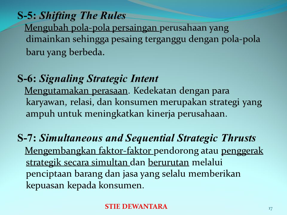 S-6: Signaling Strategic Intent