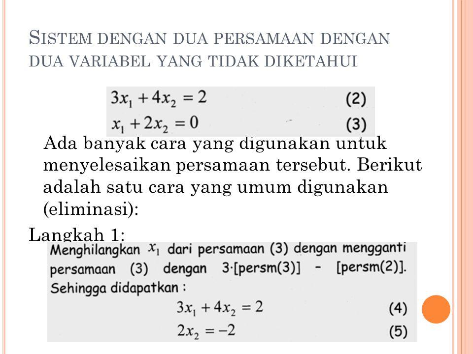 Sistem dengan dua persamaan dengan dua variabel yang tidak diketahui