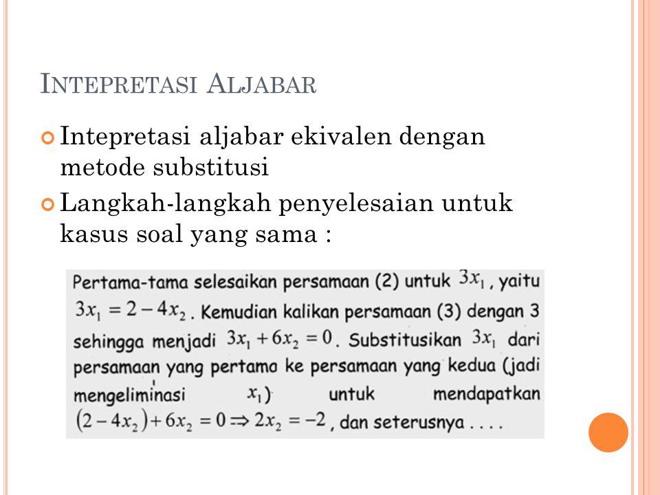 Intepretasi Aljabar Intepretasi aljabar ekivalen dengan metode substitusi.