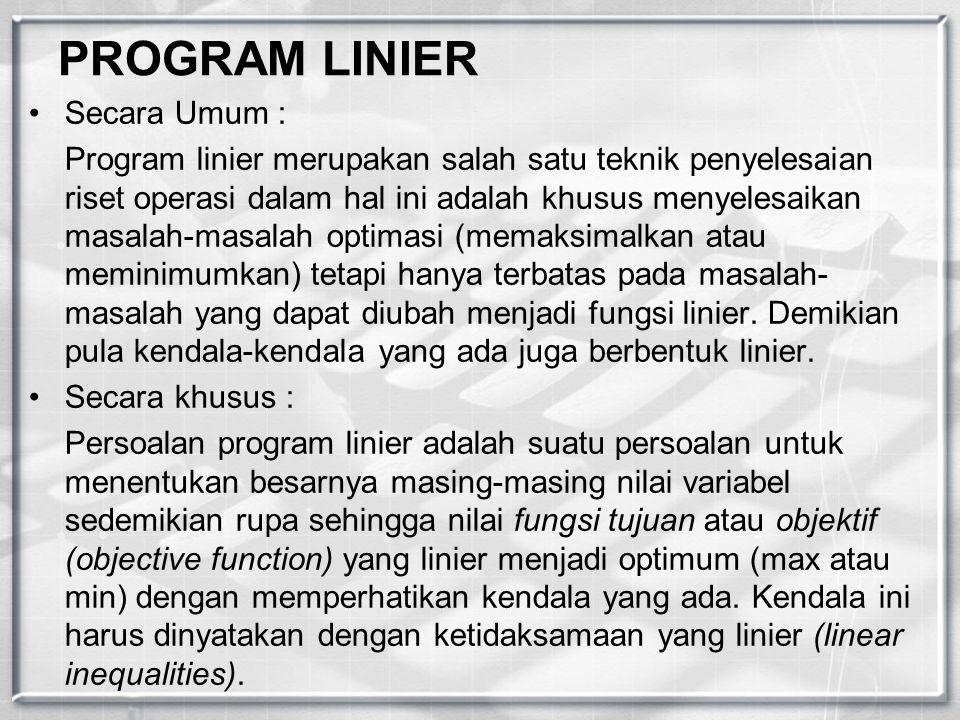 PROGRAM LINIER Secara Umum :