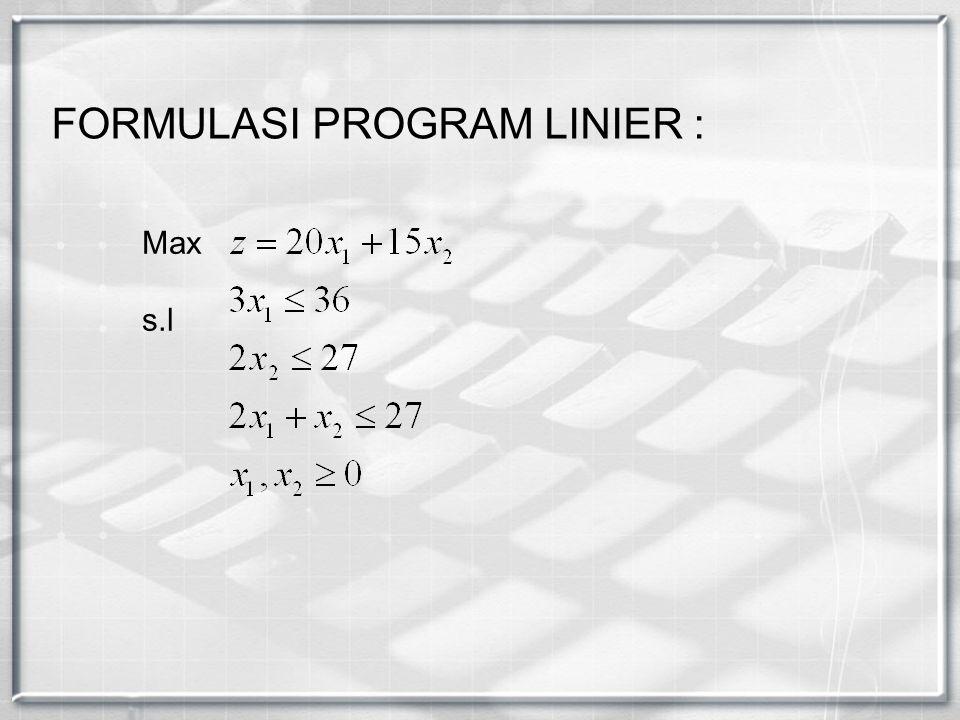 FORMULASI PROGRAM LINIER :