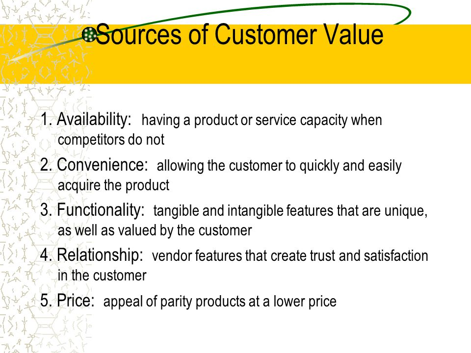 Sources of Customer Value