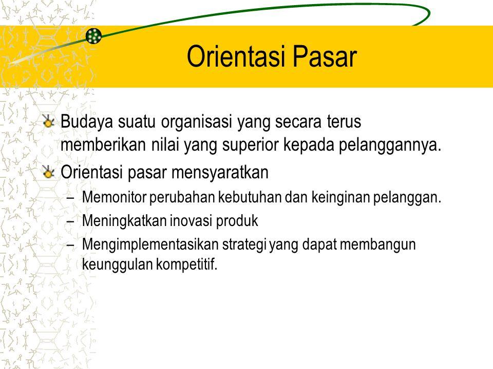 Orientasi Pasar Budaya suatu organisasi yang secara terus memberikan nilai yang superior kepada pelanggannya.