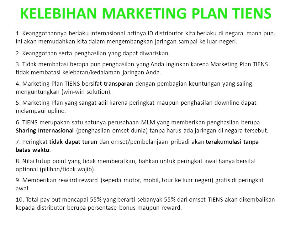 KELEBIHAN MARKETING PLAN TIENS