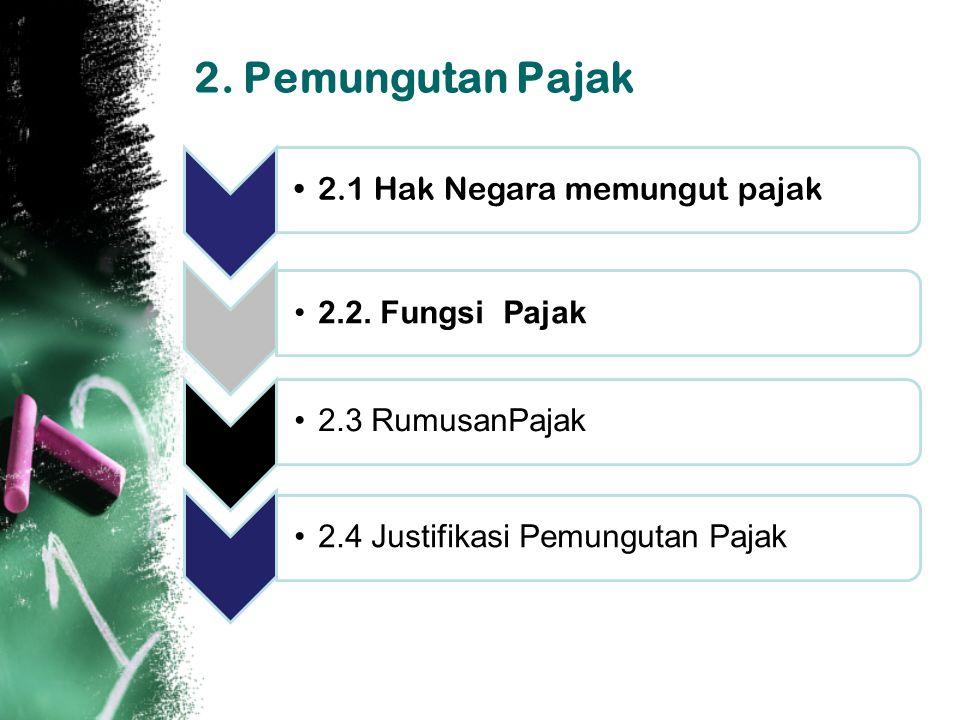 2. Pemungutan Pajak 2.1 Hak Negara memungut pajak 2.2. Fungsi Pajak