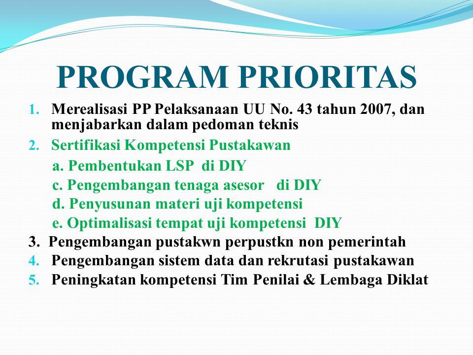 PROGRAM PRIORITAS Merealisasi PP Pelaksanaan UU No. 43 tahun 2007, dan menjabarkan dalam pedoman teknis.