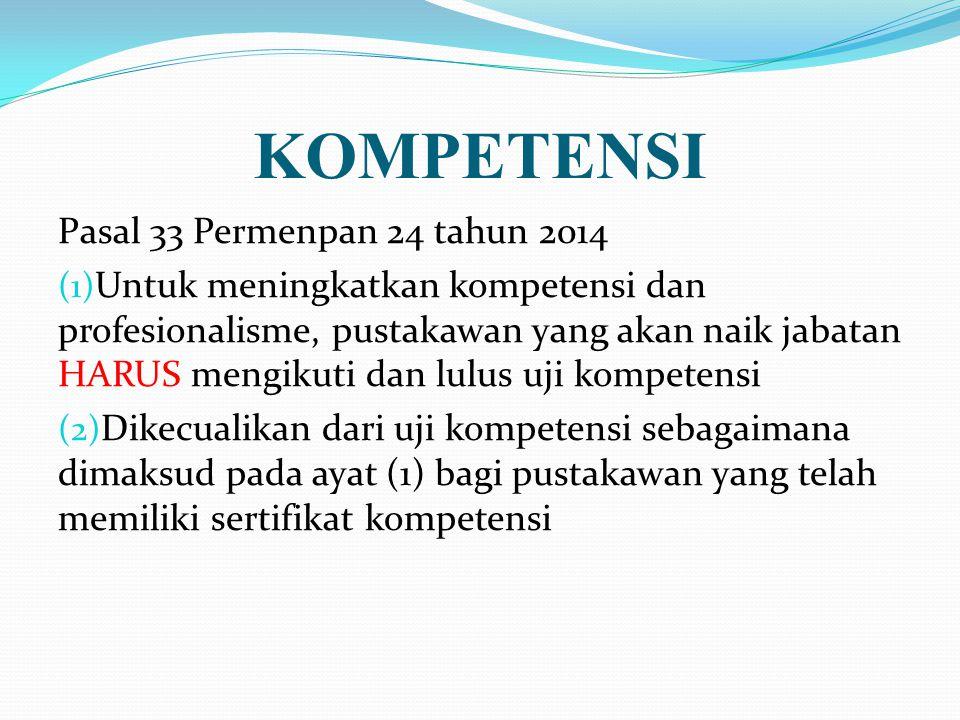 KOMPETENSI Pasal 33 Permenpan 24 tahun 2014