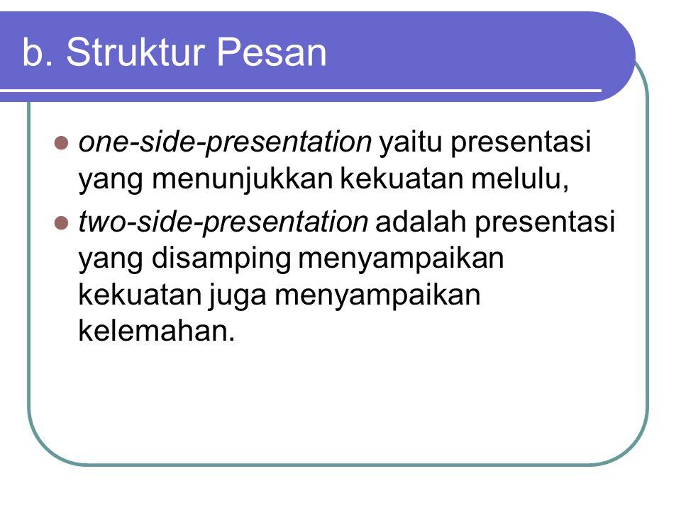 b. Struktur Pesan one-side-presentation yaitu presentasi yang menunjukkan kekuatan melulu,