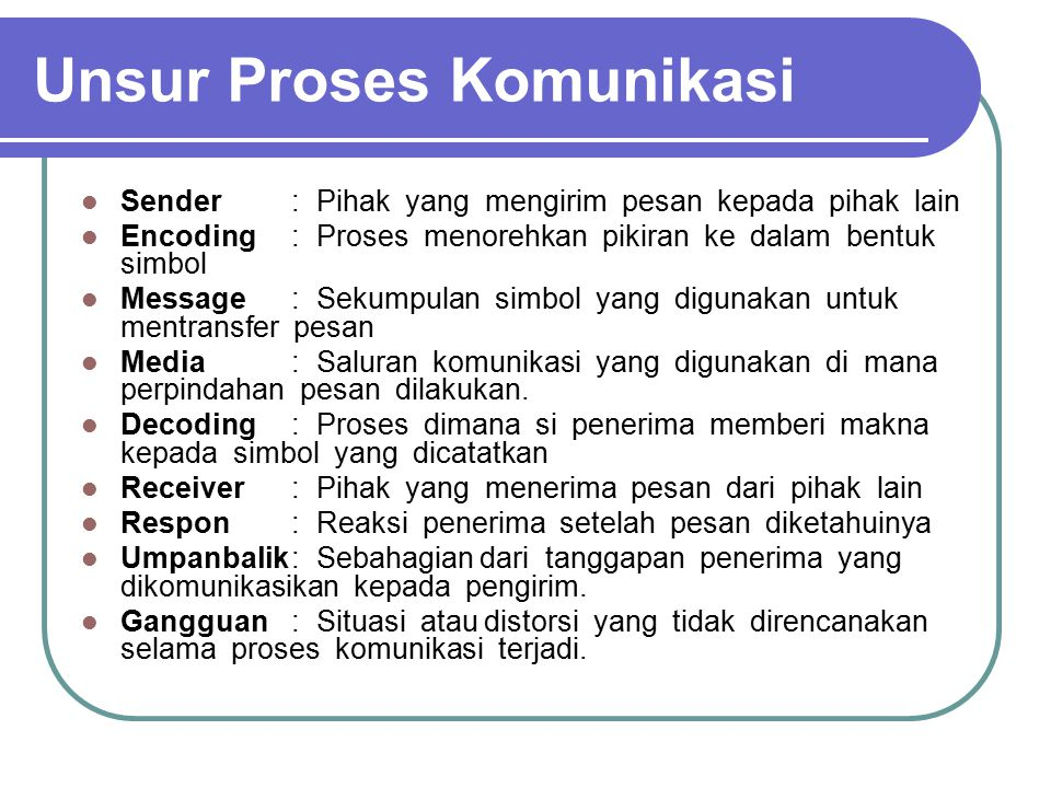 Unsur Proses Komunikasi