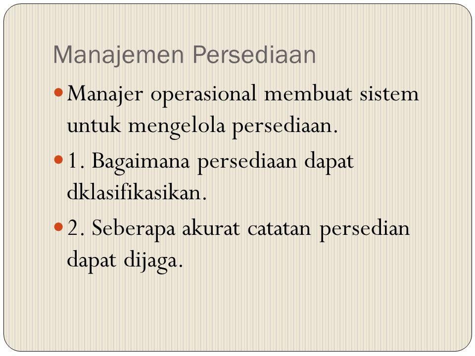 Manajemen Persediaan Manajer operasional membuat sistem untuk mengelola persediaan. 1. Bagaimana persediaan dapat dklasifikasikan.