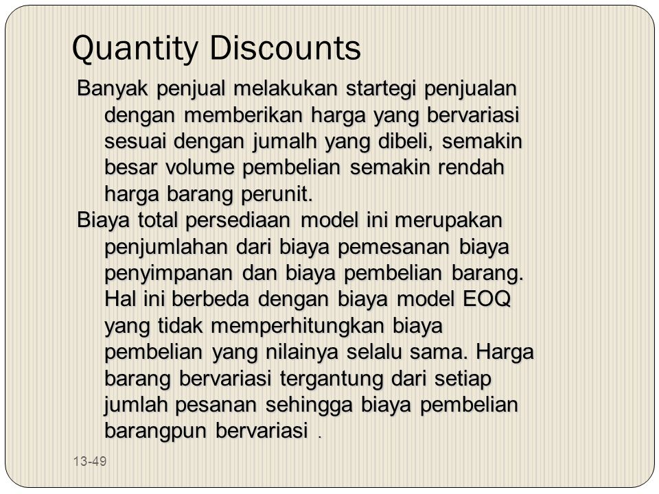 Quantity Discounts