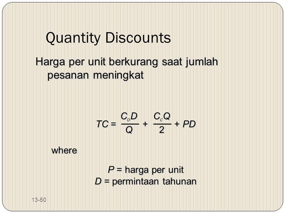 Quantity Discounts Harga per unit berkurang saat jumlah pesanan meningkat. TC = + + PD.