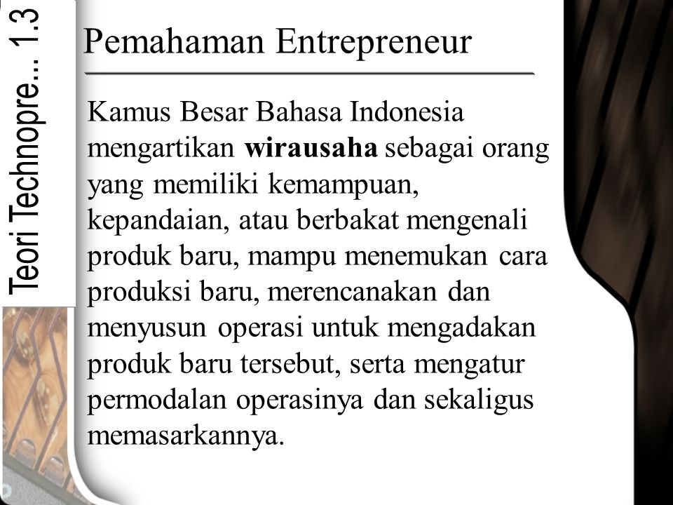 Pemahaman Entrepreneur