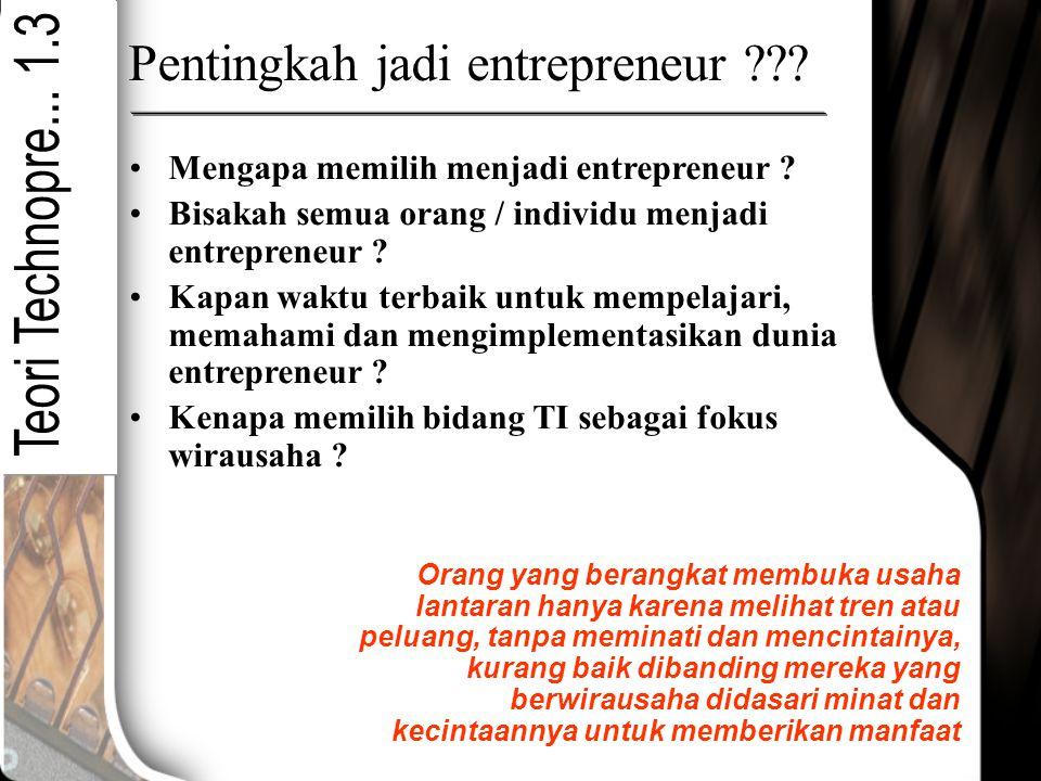 Pentingkah jadi entrepreneur