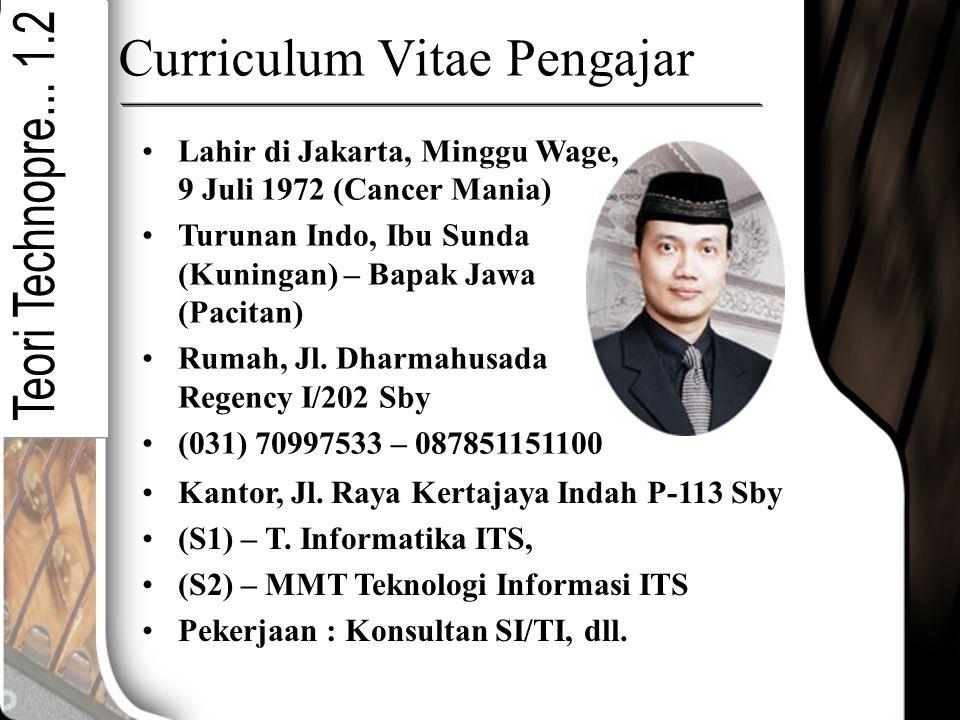 Curriculum Vitae Pengajar