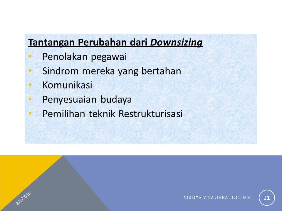 Tantangan Perubahan dari Downsizing Penolakan pegawai