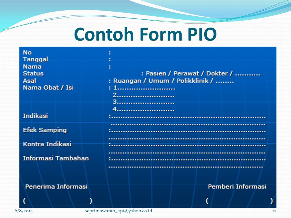 Contoh Form PIO 4/16/2017 septimawanto_apt@yahoo.co.id