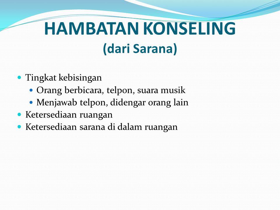HAMBATAN KONSELING (dari Sarana)