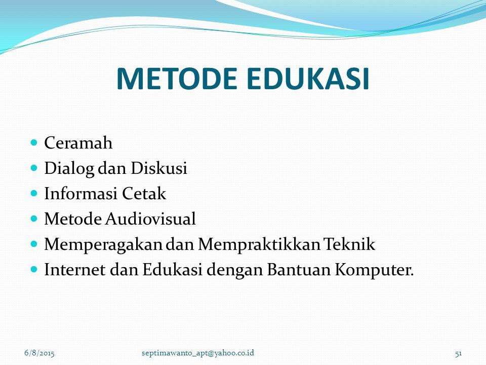 METODE EDUKASI Ceramah Dialog dan Diskusi Informasi Cetak
