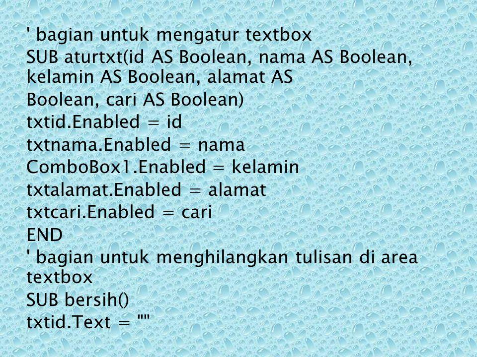 bagian untuk mengatur textbox