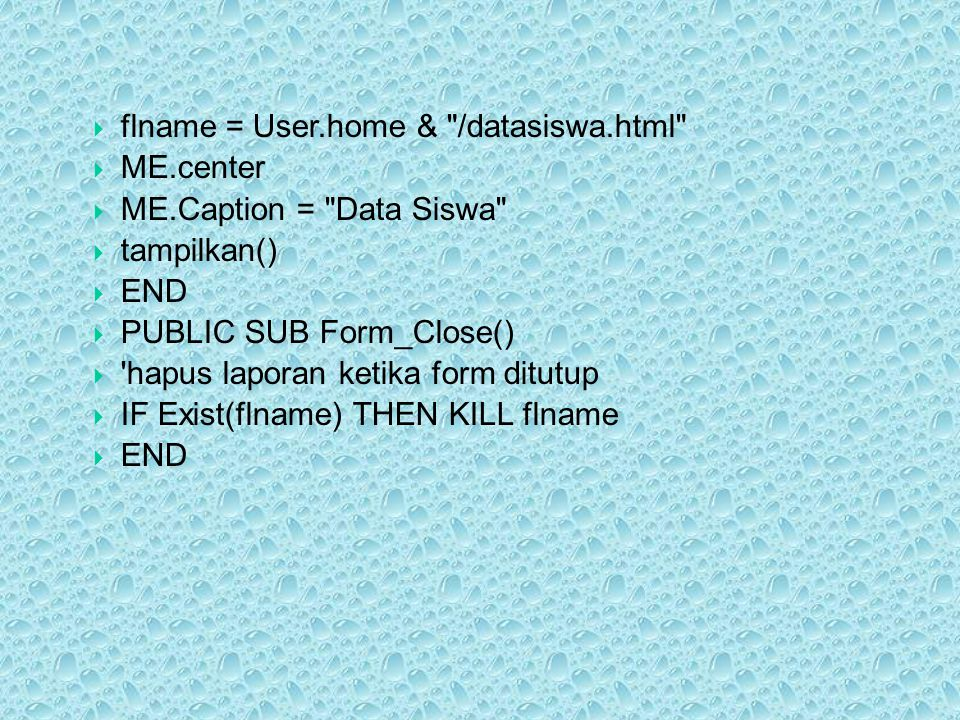 flname = User.home & /datasiswa.html