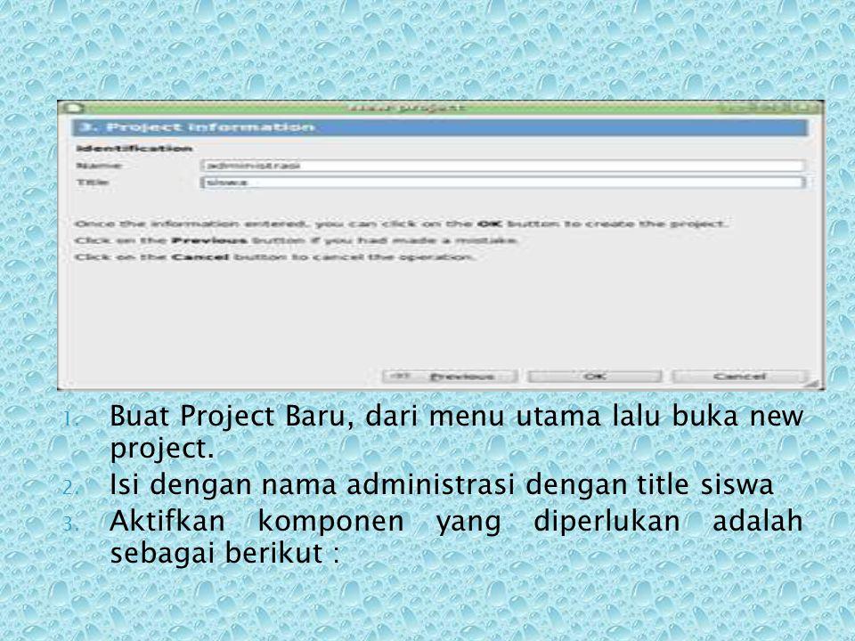 Buat Project Baru, dari menu utama lalu buka new project.