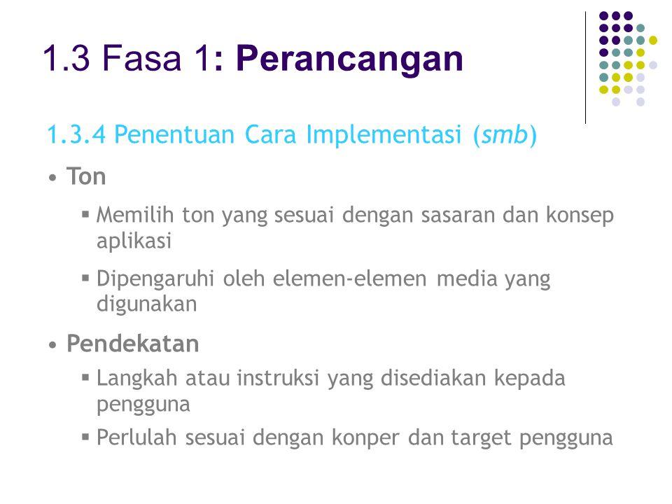 1.3 Fasa 1: Perancangan 1.3.4 Penentuan Cara Implementasi (smb) Ton
