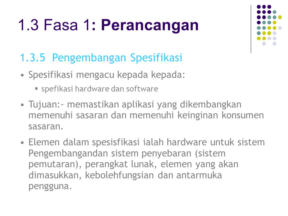 1.3 Fasa 1: Perancangan 1.3.5 Pengembangan Spesifikasi