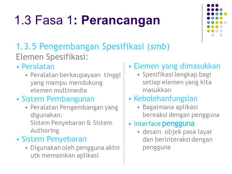 1.3 Fasa 1: Perancangan 1.3.5 Pengembangan Spesifikasi (smb)