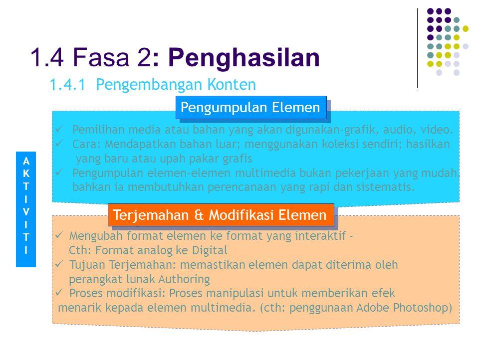 1.4 Fasa 2: Penghasilan 1.4.1 Pengembangan Konten Pengumpulan Elemen