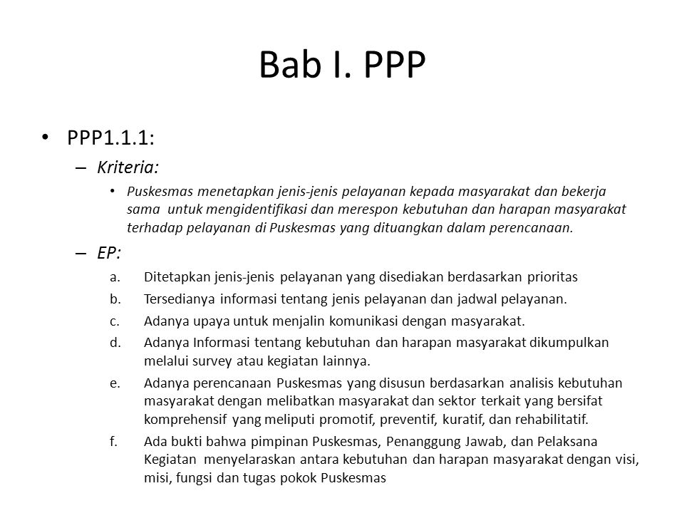Bab I. PPP PPP1.1.1: Kriteria: EP: