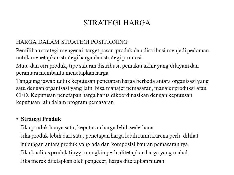 STRATEGI HARGA HARGA DALAM STRATEGI POSITIONING