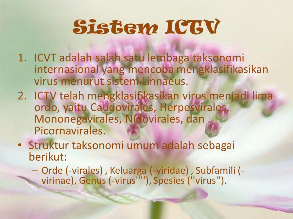 Sistem ICTV ICVT adalah salah satu lembaga taksonomi internasional yang mencoba mengklasifikasikan virus menurut sistem Linnaeus.