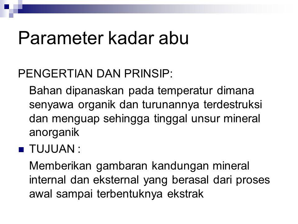 Parameter kadar abu PENGERTIAN DAN PRINSIP: