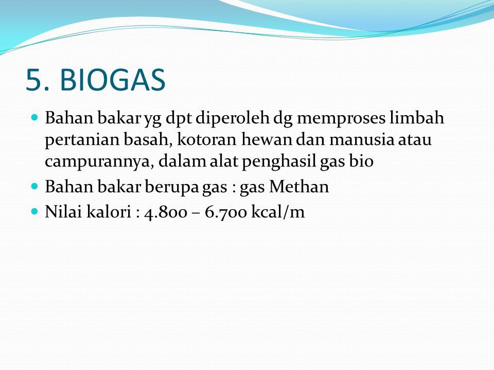 5. BIOGAS Bahan bakar yg dpt diperoleh dg memproses limbah pertanian basah, kotoran hewan dan manusia atau campurannya, dalam alat penghasil gas bio.