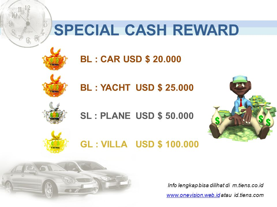 SPECIAL CASH REWARD BL : CAR USD $ 20.000 BL : YACHT USD $ 25.000