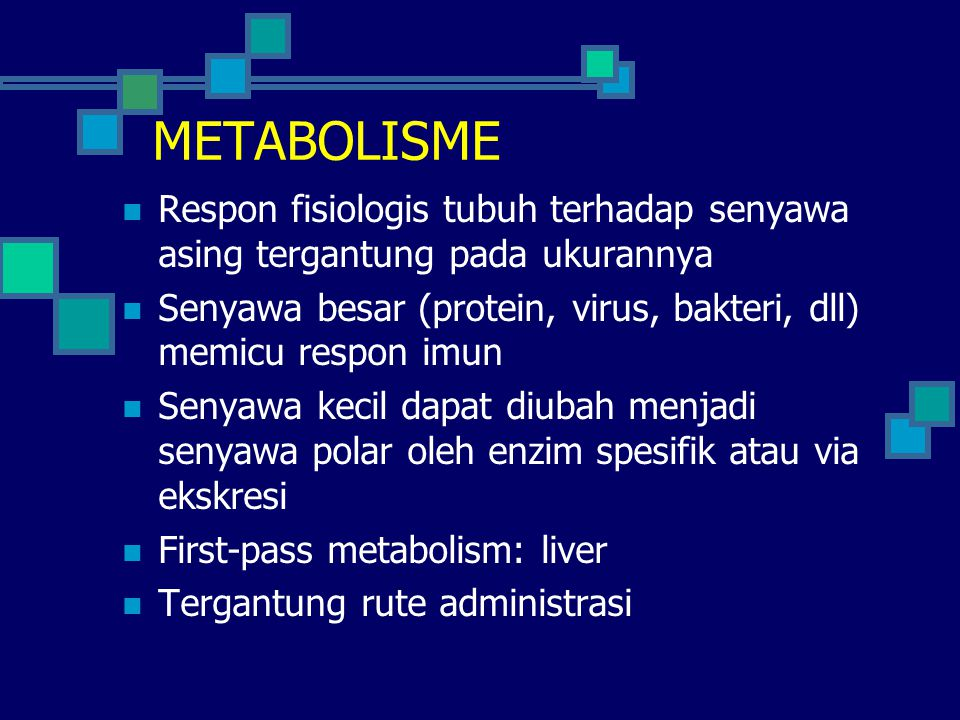 METABOLISME Respon fisiologis tubuh terhadap senyawa asing tergantung pada ukurannya.