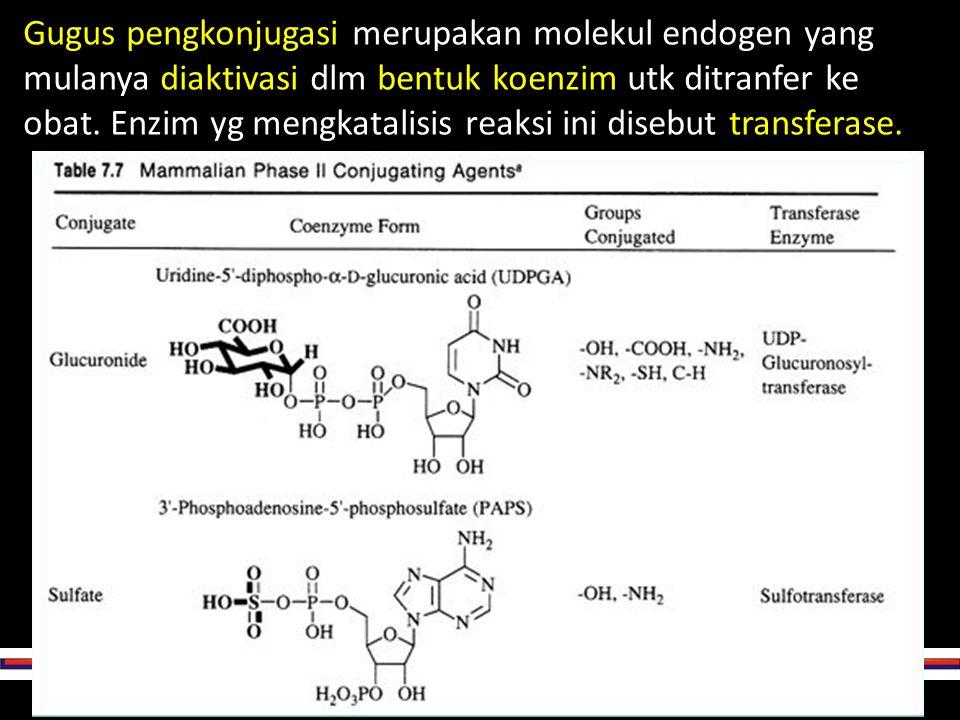 Gugus pengkonjugasi merupakan molekul endogen yang mulanya diaktivasi dlm bentuk koenzim utk ditranfer ke obat.