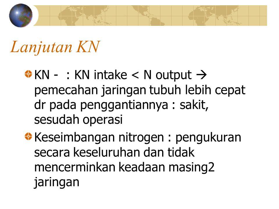 Lanjutan KN KN - : KN intake < N output  pemecahan jaringan tubuh lebih cepat dr pada penggantiannya : sakit, sesudah operasi.