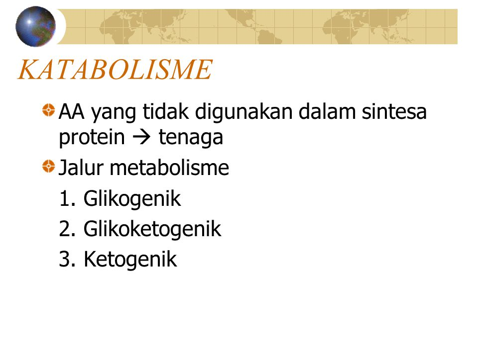 KATABOLISME AA yang tidak digunakan dalam sintesa protein  tenaga